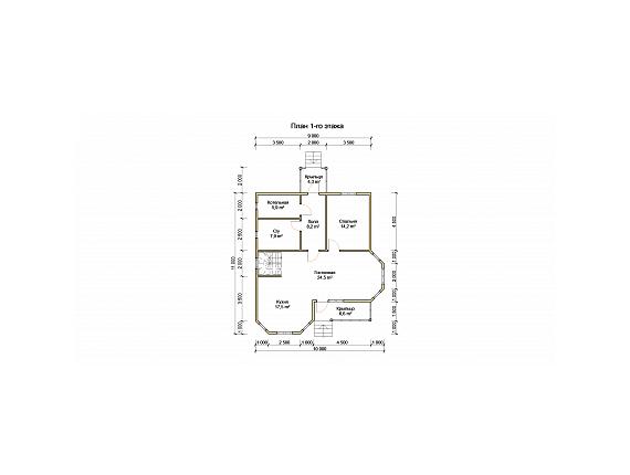 План 1 этажа дома на 151 кв м по Ярославскому шоссе