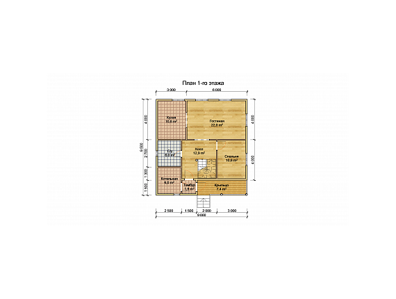 План 1 этажа дома на 138 кв.м. по Ярославскому шоссе